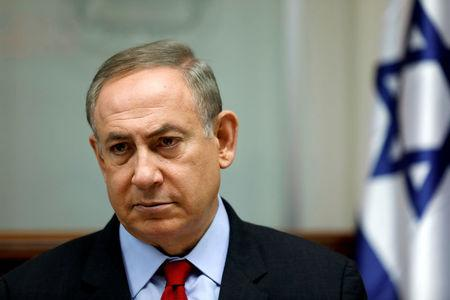 FILE PHOTO: Israeli PM Benjamin Netanyahu attends a cabinet meeting in Jerusalem
