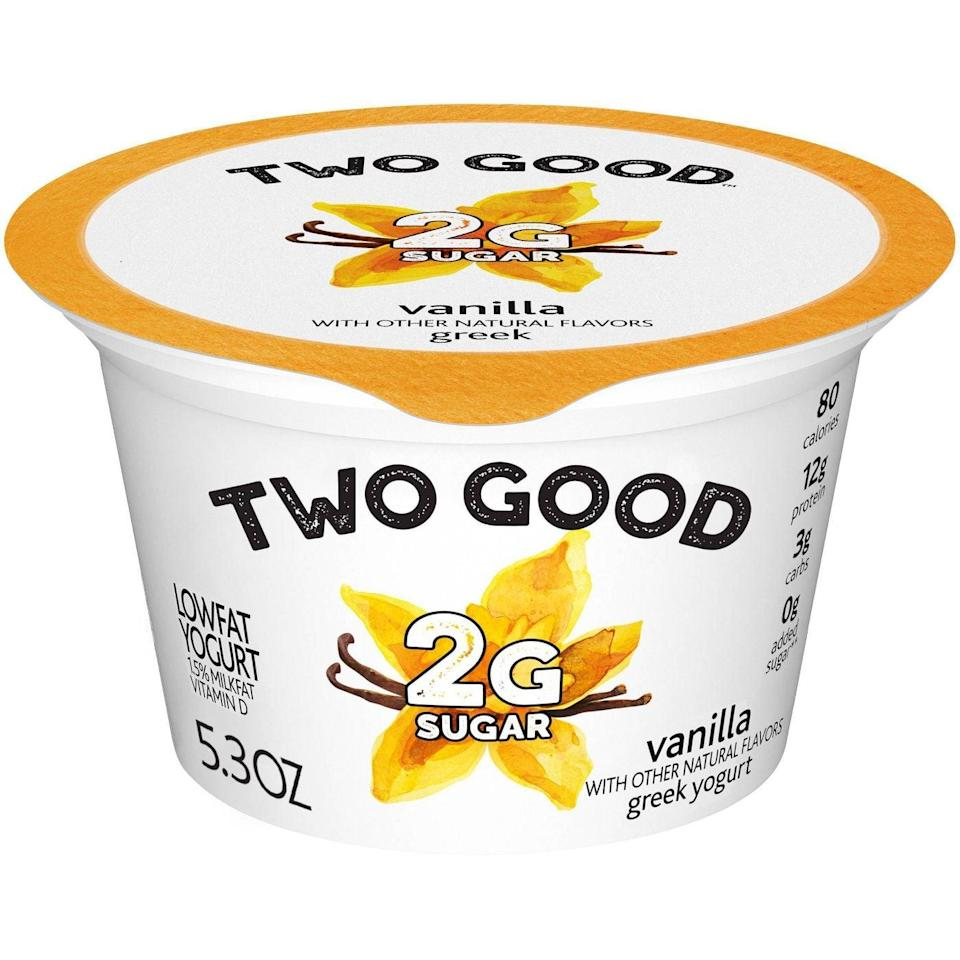 """<p>Yogurt is an excellent source of protein, probiotics, calcium, and fat - all of which are key to maintaining a healthy weight. In fact, studies have shown that <a href=""""https://pubmed.ncbi.nlm.nih.gov/27332081/"""" class=""""link rapid-noclick-resp"""" rel=""""nofollow noopener"""" target=""""_blank"""" data-ylk=""""slk:eating yogurt can help prevent weight gain and disease"""">eating yogurt can help prevent weight gain and disease</a>, so keeping your fridge well-stocked is a smart move.</p> <p><span>Two Good Yogurt</span> ($2) is a delicious Greek yogurt that isn't loaded with added sugar. And because it comes in pre-portioned cups, there's no risk of overdoing it. Top your yogurt with some nut butter and berries for a balanced and simple breakfast.</p>"""