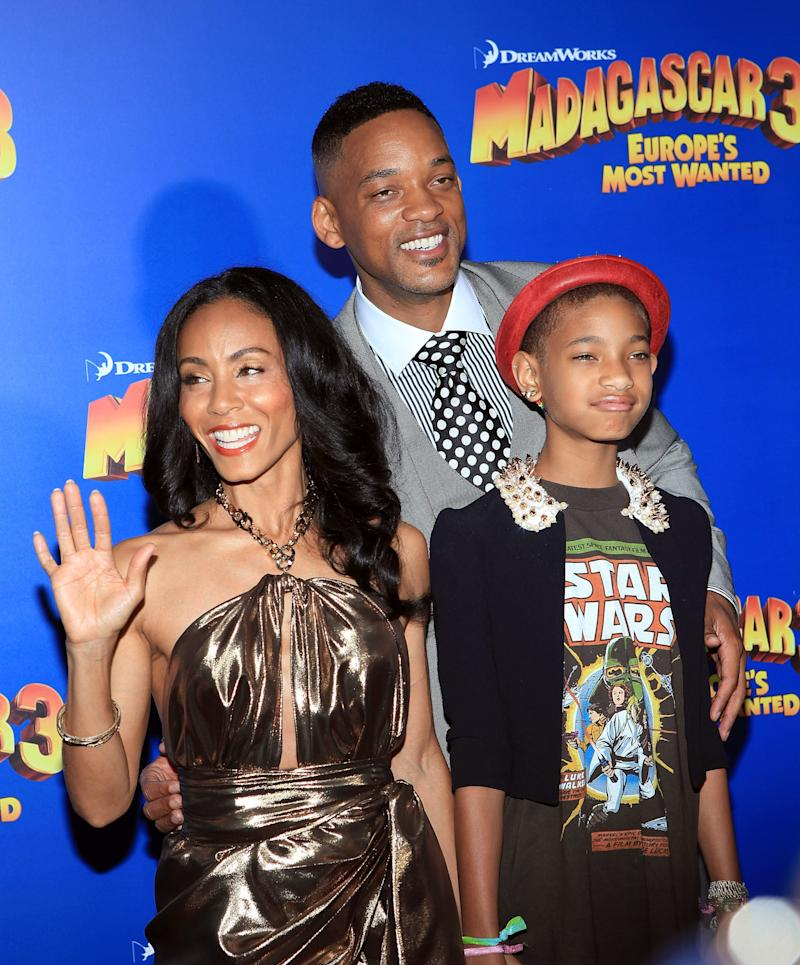 Jada Pinkett Smith, Will Smith and Willow Smith pictured together in 2012. (Robin Marchant via Getty Images)