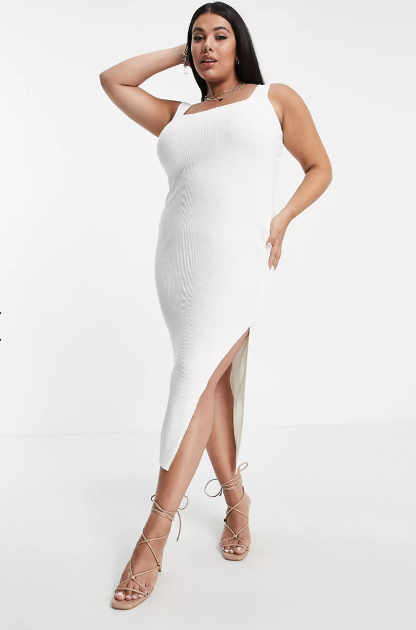 """<h2>In The Style Plus X Naomi Genes Midi Dress </h2><br><strong>Best Plus-Size Square-Neck Sweater Dress</strong><br><em>Size Range: 14-20</em> <br><br>A square neck cut is a minor detail change that makes a big difference stylistically. This dress from ASOS is perfect for fall months because it's made from a breathable and cozy, lightweight jersey — layer it or wear it alone for two very different looks. <br><em><br>Shop<strong><a href=""""https://go.skimresources.com/?id=30283X879131&isjs=1&jv=15.2.0-stackpath&sref=https%3A%2F%2Fwww.refinery29.com%2Fen-us%2Fplus-size-sweater-dresses%23slide-1&url=https%3A%2F%2Fwww.asos.com%2Fus%2Fin-the-style-plus%2Fin-the-style-plus-x-naomi-genes-midi-dress-with-thigh-split-in-cream%2Fprd%2F200310998&xguid=01ERGDHBXNJ489J9KBAH8RZJH0&xs=1&xtz=240&xuuid=13a7fbd9948972339c551d8b8235af4b&xjsf=other_click__contextmenu%20%5B2%5D"""" rel=""""nofollow noopener"""" target=""""_blank"""" data-ylk=""""slk:ASOS"""" class=""""link rapid-noclick-resp""""> ASOS </a></strong></em><br><br><strong>In The Style Plus</strong> In The Style Plus x Naomi Genes midi dress with slit, $, available at <a href=""""https://go.skimresources.com/?id=30283X879131&url=https%3A%2F%2Fwww.asos.com%2Fus%2Fin-the-style-plus%2Fin-the-style-plus-x-naomi-genes-midi-dress-with-thigh-split-in-cream%2Fprd%2F200310998"""" rel=""""nofollow noopener"""" target=""""_blank"""" data-ylk=""""slk:ASOS"""" class=""""link rapid-noclick-resp"""">ASOS</a>"""
