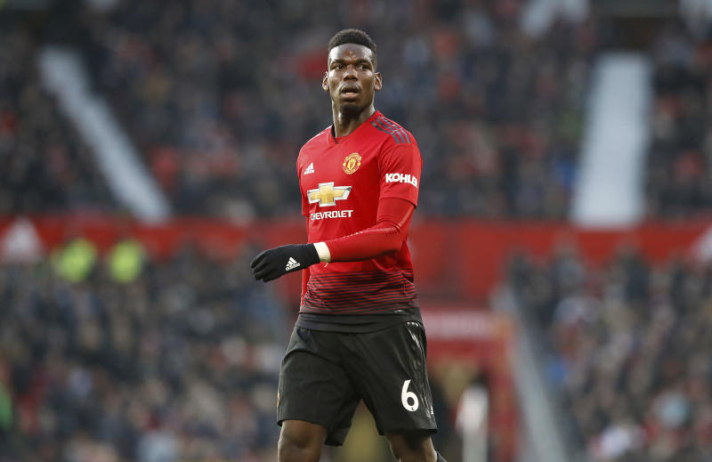 Manchester United's Paul Pogba in action during their English Premier League soccer match against Crystal Palace at Old Trafford Manchester England Saturday Nov. 24 2018