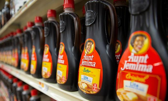 """<span class=""""element-image__caption"""">Aunt Jemima will change its name and image in an effort by the brand to distance itself from racial stereotypes.</span> <span class=""""element-image__credit"""">Photograph: Cj Gunther/EPA</span>"""