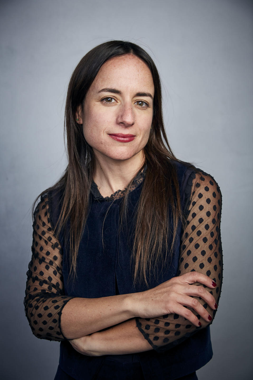 """FILE - Writer/director Maite Alberdi poses for a portrait to promote the film """"The Mole Agent"""" during the Sundance Film Festival on Jan. 25, 2020, in Park City, Utah. (Photo by Taylor Jewell/Invision/AP, File)"""