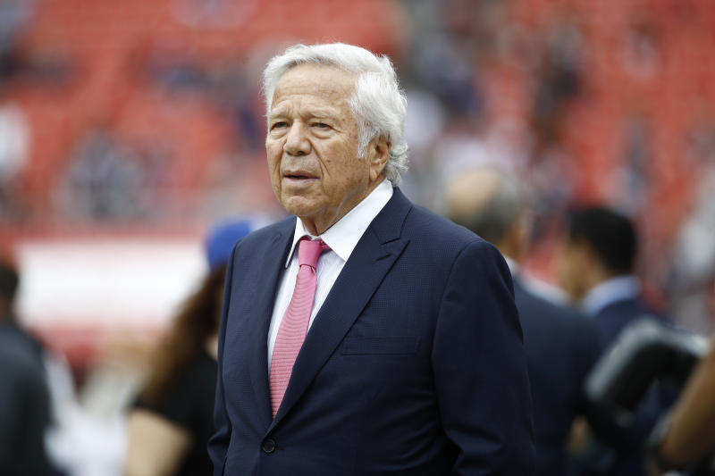 New England Patriots owner Robert Kraft walks the turf ahead of an NFL football game between the Washington Redskins and the New England Patriots, Sunday, Oct. 6, 2019, in Landover, Md. (AP Photo/Patrick Semansky)