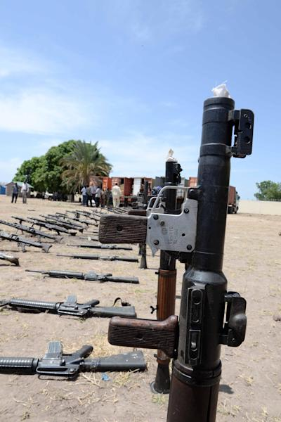Weapons intercepted from a UN peacekeeping mission by South Sudan's army are seen in Rumbek on March 8, 2014 (AFP Photo/Charles Lomodong)