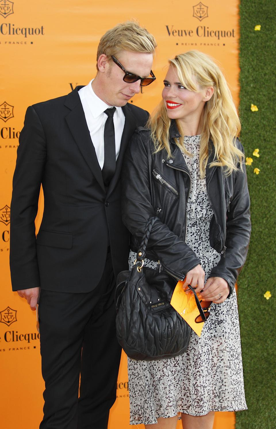 Actor Laurence Fox (left) and wife Billie Piper arrive to watch the Veuve Clicquot Gold Cup Final at Cowdray Polo Lawns in Midhurst, West Sussex.