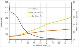 Grade-Tonnage Curve for Open Pit Resource at NSR Cut-Offs
