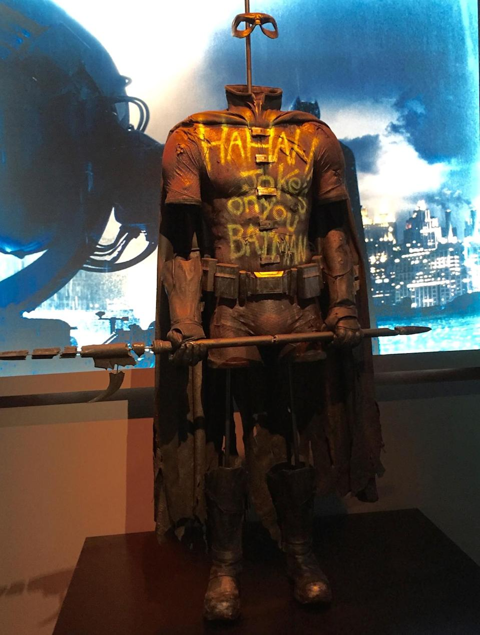 <p>The same suit that was enshrined in the Batcave is now on display at Warners.</p>