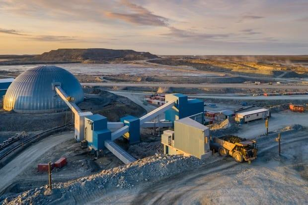 Agnico Eagle's Meadowbank gold mine in Nunavut in August of 2019. The company faced criticism this week over a workplace safety sign, that prompted accusations the mine was trying to suppress Inuktitut. (Agnico Eagle - image credit)