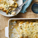 """<p>In this easy chicken enchiladas recipe, we make a white sauce from chicken broth and sour cream that coats corn tortillas rolled up with shredded chicken, onion, peppers and spices. Poblano peppers tend to be mild, but if you really want to cut the heat, use a green bell pepper instead. <a href=""""http://www.eatingwell.com/recipe/278472/chicken-enchiladas-with-white-sauce/"""" rel=""""nofollow noopener"""" target=""""_blank"""" data-ylk=""""slk:View recipe"""" class=""""link rapid-noclick-resp""""> View recipe </a></p>"""