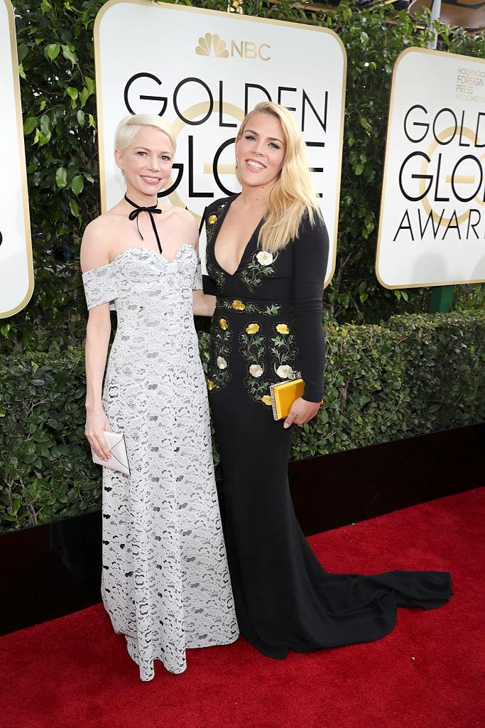 Michelle Williams with Busy Philipps at the 2017 Golden Globes. (Photo: Neilson Barnard/NBCUniversal/NBCU Photo Bank via Getty Images)