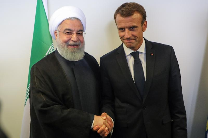 Iranian President Hassan Rouhani meets French counterpart Emmanuel Macron on the sidelines of the UN General Assembly in New York on September 25, 2018 as allegations of Iranian involvement in a foiled June bomb plot near Paris cloud relations (AFP Photo/ludovic MARIN)