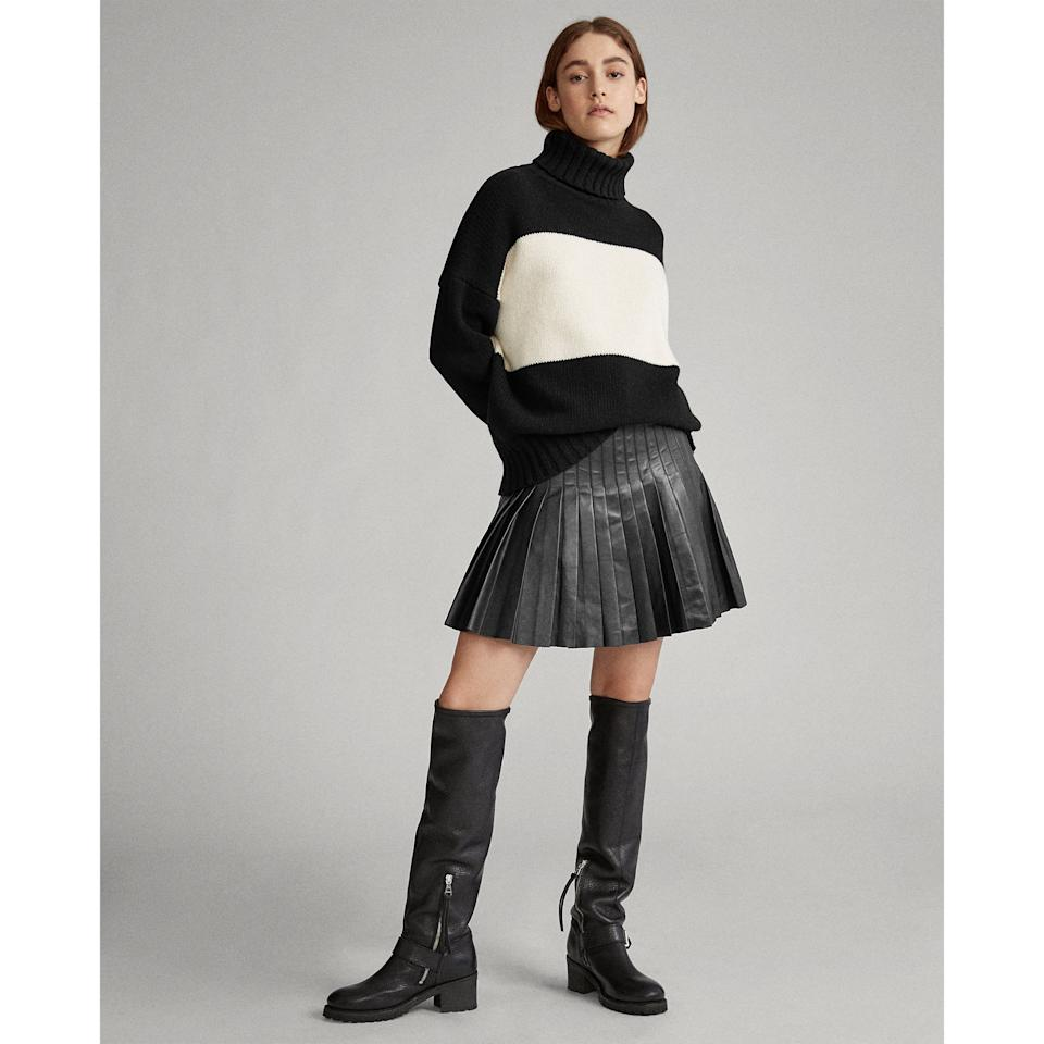 """<p>""""I was so excited to see this <a href=""""https://www.popsugar.com/buy/Ralph-Lauren-Pleated-Lambskin-Miniskirt-495315?p_name=Ralph%20Lauren%20Pleated%20Lambskin%20Miniskirt&retailer=ralphlauren.com&pid=495315&price=698&evar1=fab%3Aus&evar9=46688025&evar98=https%3A%2F%2Fwww.popsugar.com%2Ffashion%2Fphoto-gallery%2F46688025%2Fimage%2F46688995%2FRalph-Lauren-Pleated-Lambskin-Miniskirt&list1=shopping%2Cfall%20fashion%2Cfall%2Cmust%20haves%2Ceditors%20pick&prop13=api&pdata=1"""" rel=""""nofollow"""" data-shoppable-link=""""1"""" target=""""_blank"""" class=""""ga-track"""" data-ga-category=""""Related"""" data-ga-label=""""https://www.ralphlauren.com/friends-cg/pleated-lambskin-miniskirt/495279.html"""" data-ga-action=""""In-Line Links"""">Ralph Lauren Pleated Lambskin Miniskirt</a> ($698) in <a href=""""https://www.popsugar.com/fashion/ralph-lauren-friends-collection-46638037"""" class=""""ga-track"""" data-ga-category=""""Related"""" data-ga-label=""""https://www.popsugar.com/fashion/ralph-lauren-friends-collection-46638037"""" data-ga-action=""""In-Line Links"""">the new <strong>Friends</strong> collection</a>. I am a huge fan of the cute pleated skirt turned badass in leather - that said, I wish it wasn't real leather, so I also like <a href=""""https://www.zara.com/us/en/faux-leather-skirt-p02969243.html?v1=29620124&amp;v2=1281571"""" target=""""_blank"""" class=""""ga-track"""" data-ga-category=""""Related"""" data-ga-label=""""https://www.zara.com/us/en/faux-leather-skirt-p02969243.html?v1=29620124&amp;v2=1281571"""" data-ga-action=""""In-Line Links"""">something faux like this</a>."""" - Lisa Sugar, editor-in-chief</p>"""