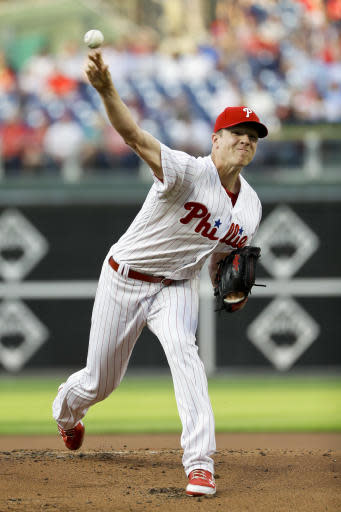 Philadelphia Phillies' Nick Pivetta pitches during the first inning of a baseball game against the Atlanta Braves, Monday, May 21, 2018, in Philadelphia. (AP Photo/Matt Slocum)
