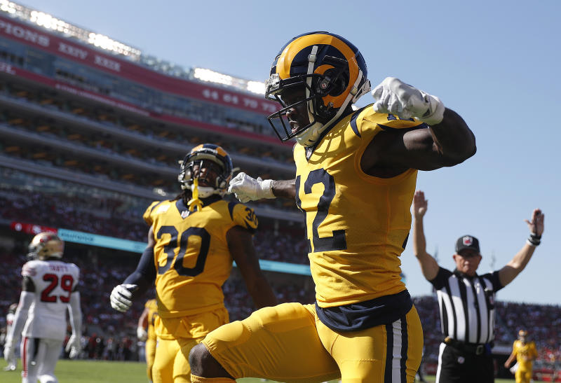 Los Angeles Rams wide receiver Brandin Cooks (12) celebrates after scoring a touchdown against the San Francisco 49ers. (AP)