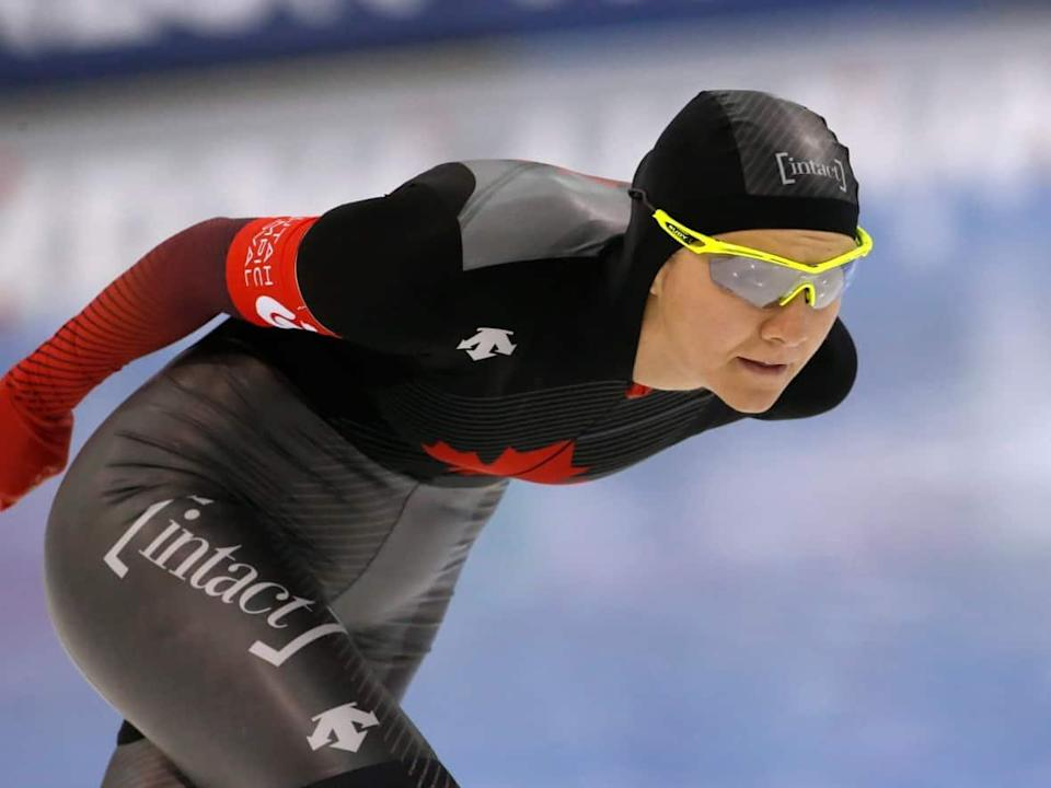 Canada's Isabelle Weidemann, seen above in Feb. 2020, set a national record in the 5,000 metres at the Canadian long track speed skating championships on Thursday in Calgary. (Rick Bowmer/The Associated Press - image credit)