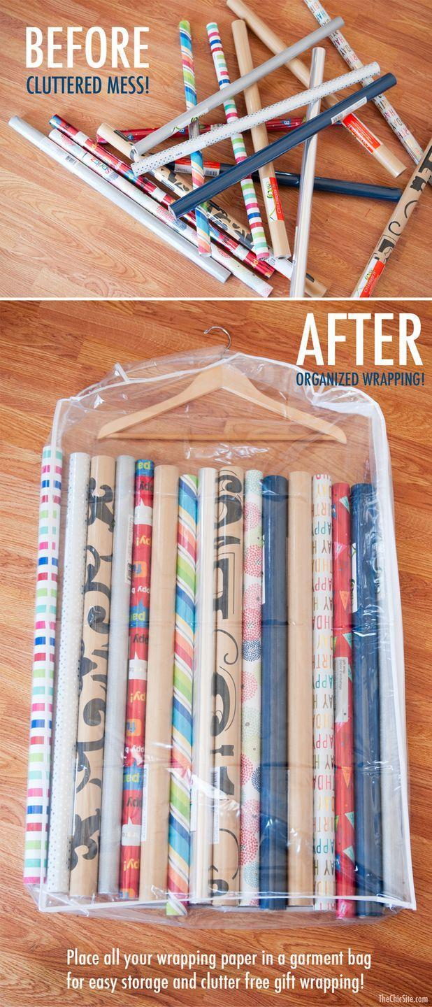"""<p>If you can't resist a sale on gift wrap, you'll love this idea: Zip all those rolls into a hanging garment bag, then hang it up in your closet.</p><p><a href=""""http://thechicsite.com/2014/09/11/wrapping-paper-storage/"""" rel=""""nofollow noopener"""" target=""""_blank"""" data-ylk=""""slk:See more at The Chic Site »"""" class=""""link rapid-noclick-resp""""><em>See more at The Chic Site »</em></a></p>"""
