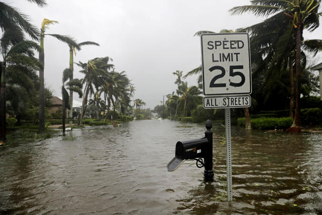 <p><strong>Naples</strong><br> A street is flooded near the ocean after Hurricane Irma passed through Naples, Fla., Sept. 10, 2017. (Photo: David Goldman) </p>