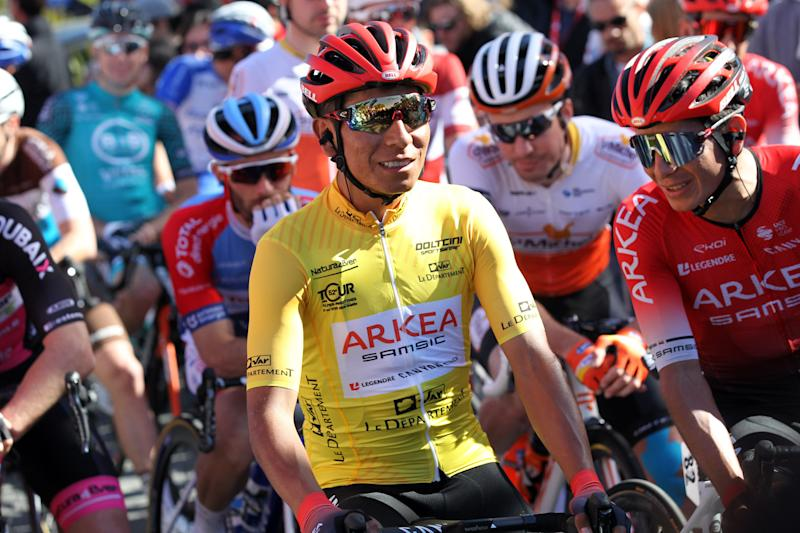 Arkéa-Samsic's Nairo Quintana lines up for the final stage of the 2020 Tour des Alpes Maritimes et du Var in the leader's yellow jersey
