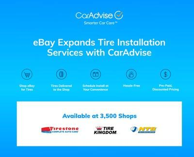 eBay Motors expands Tire Installation Program with CarAdvise, adding 3,500 tire shops to eBay's tire installer network including top national chains like Firestone, Tires Plus, National Tire and Battery, and Tire Kingdom.