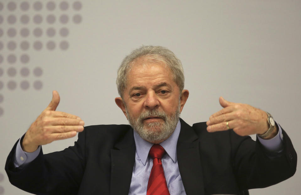 Brazil's former President Luiz Inacio Lula da Silva speaks during the seminar Strategies for the Brazilian Economy, held by the Workers' Party in Brasilia, Brazil, Monday, April 24, 2017. During the ongoing Car Wash investigation on political corruption, former Odebrecht CEO Marcelo Odebrecht testified that his company contributed to the presidential campaigns of Dilma Rousseff and Luiz Inacio Lula da Silva, both of the Workers' Party, in exchange for favors. Silva and Rousseff have both denied the accusations. (AP Photo/Eraldo Peres)