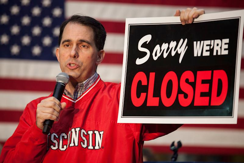 Scott Walker's days as the union-busting governor of Wisconsin may be over, but the effects of his efforts will linger. (Photo: Darren Hauck via Getty Images)