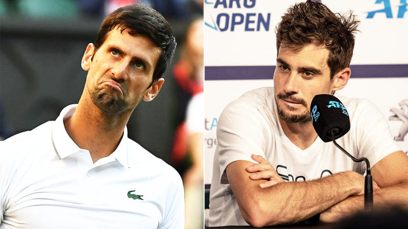 Novak Djokovic (pictured left) looking confused and Guido Pella (pictured right) answering questions.