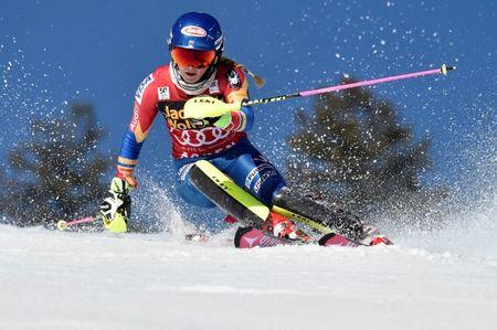 FILE PHOTO: Mar 18, 2017; Aspen, CO, USA; Mikaela Shiffrin of the United States during the women's slalom alpine skiing race in the 2017 Audi FIS World Cup Finals at Aspen Mountain. Mandatory Credit: Michael Madrid-USA TODAY Sports/File photo