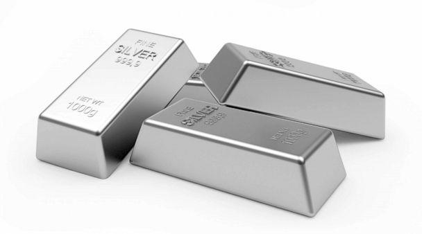 PHOTO: Several silver bars or ingots are pictured stacked up in this stock image. (Ravital/Shutterstock )