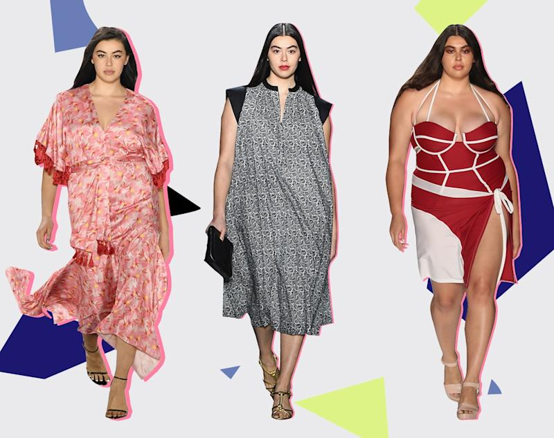 Lauren Chan walks the runway at 11 Honoré, Rebecca Minkoff spring 2019, and Chromat spring 2018.