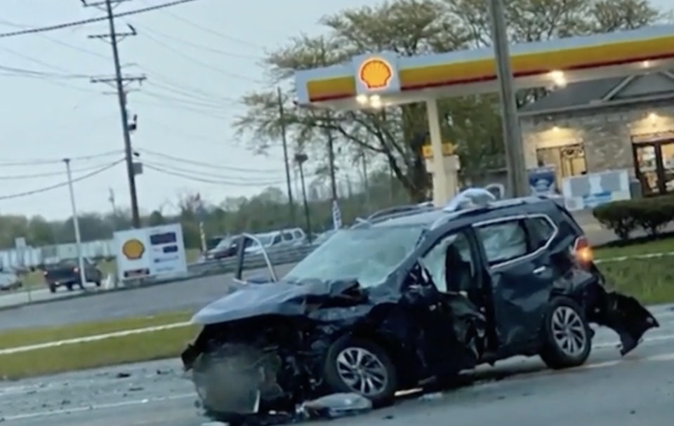A black car is pictured following a crash.