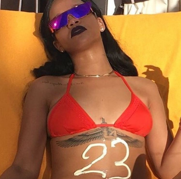 """<p>There are at least 23 reasons that this photo of RiRi should be celebrated. (Photo: <a href=""""https://www.instagram.com/p/BFnRB6dBMym/"""" rel=""""nofollow noopener"""" target=""""_blank"""" data-ylk=""""slk:Instagram"""" class=""""link rapid-noclick-resp"""">Instagram</a>) </p>"""