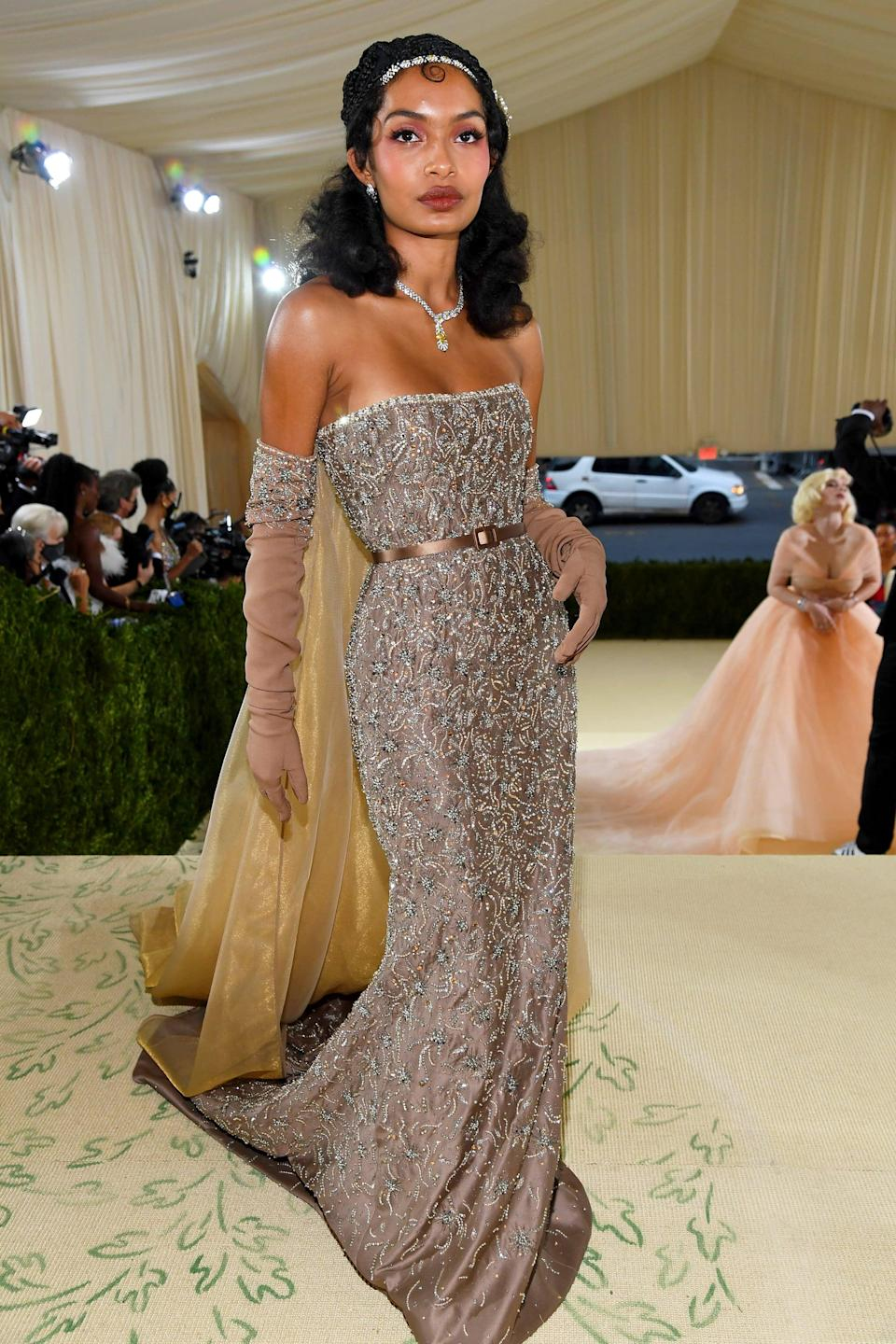 <p>The actress paid homage to the theme with a custom Dior look inspired by Josephine Baker.</p>