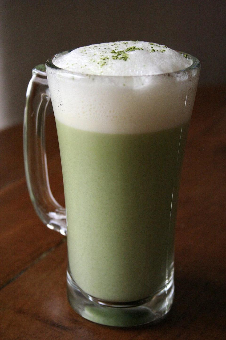 """<p>If matcha is your weakness, you'll swoon when you make this rich green tea. The creamy matcha is sweetened just enough to make it a bold (yet bright!) treat for your taste buds.</p> <p><strong>Original Starbucks Drink:</strong> <a href=""""http://www.starbucks.com/menu/drinks/tea/green-tea-latte"""" class=""""link rapid-noclick-resp"""" rel=""""nofollow noopener"""" target=""""_blank"""" data-ylk=""""slk:matcha green tea latte"""">matcha green tea latte</a></p> <p><strong>Homemade Version:</strong> <a href=""""https://www.popsugar.com/food/How-Make-Matcha-Tea-24559867"""" class=""""link rapid-noclick-resp"""" rel=""""nofollow noopener"""" target=""""_blank"""" data-ylk=""""slk:matcha green tea latte"""">matcha green tea latte</a></p>"""