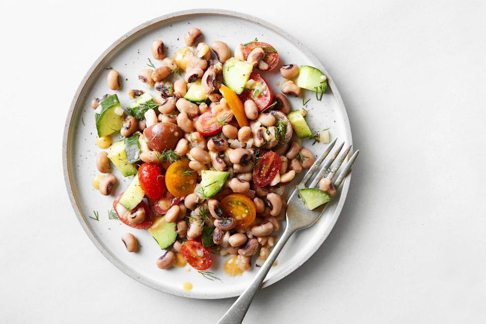 """This is the ideal salad for a Thanksgiving potluck or buffet: It can sit out for several hours and be none the worse during the wait. <a href=""""https://www.epicurious.com/recipes/food/views/black-eyed-pea-salad-with-hot-sauce-vinaigrette?mbid=synd_yahoo_rss"""" rel=""""nofollow noopener"""" target=""""_blank"""" data-ylk=""""slk:See recipe."""" class=""""link rapid-noclick-resp"""">See recipe.</a>"""