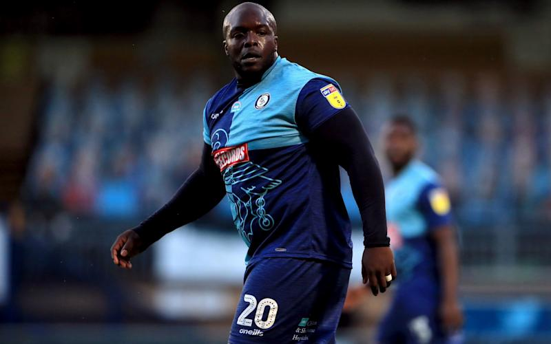 Adebayo Akinfenwa in action for Wycombe against Fleetwood - PA