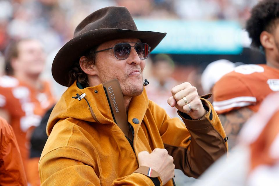 Matthew McConaughey celebrates on the Texas Longhorns sideline in the second half against the Texas Tech Red Raiders at Darrell K Royal-Texas Memorial Stadium on November 29, 2019 in Austin, Texas.