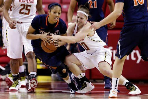Virginia guard Ataira Franklin, left, and Maryland guard Katie Rutan struggle for possession of the ball in the first half of an NCAA college basketball game in College Park, Md., Thursday, Dec. 6, 2012. (AP Photo/Patrick Semansky)