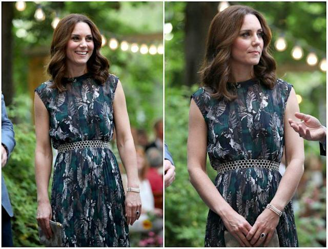The intricate pattern on Kate Middleton's dress features birds — eagles, in particular! The national bird of Germany is a golden eagle. <em>(Photo: Getty) </em>