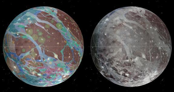 To present the best information in a single view of Jupiter's moon Ganymede, a global image mosaic was assembled, incorporating the best available imagery from NASA's Voyager 1 and 2 spacecraft and NASA's Galileo spacecraft. This image shows Ga