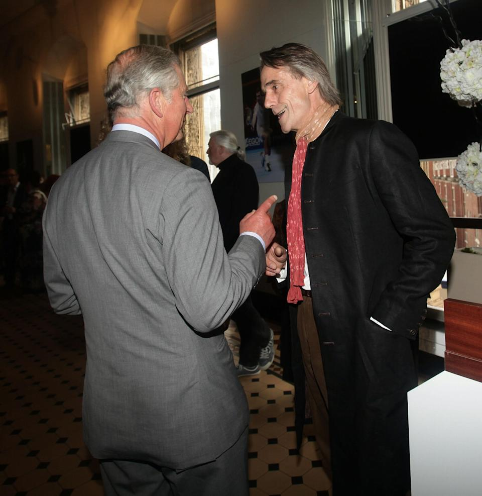 Prince Charles and Jeremy Irons probably have a lot to talk about because of the Prince's long love of acting. Irons spent time in Sandringham in 2002, and was spotted going to church with Charles, Camilla and Richard E Grant. Charles and Irons here at the Royal Albert Hall in 2011. (PA Images)