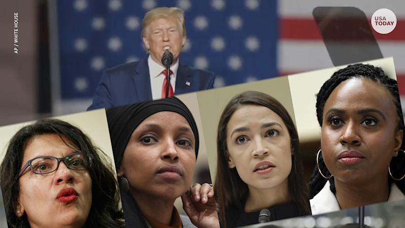 'Squad' congresswomen call Trump 'go back' tweets racist