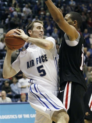 Air Force forward Mike Fitzgerald, left, is trapped with the ball after pulling in a rebound in front of San Diego State forward Tim Shelton during the second half of an NCAA basketball game at Air Force Academy, Colo., on Saturday, Feb. 18, 2012. Air Force won 58-56. (AP Photo/David Zalubowski)