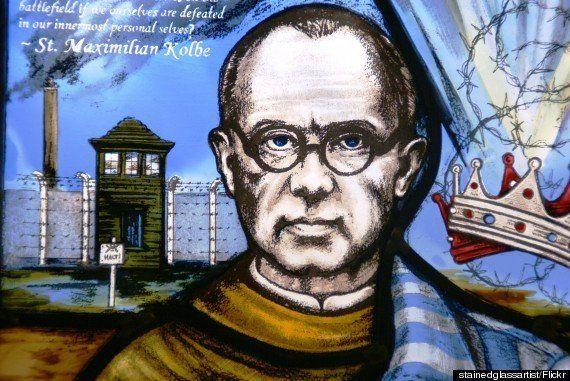 <strong>Kolbe, who was made a Christian saint in 1982, is pictured on a church window</strong> (Photo: )