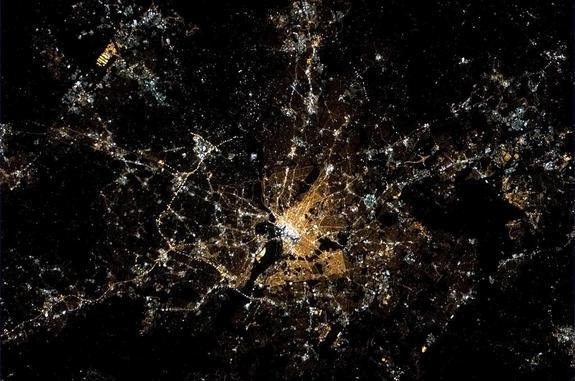 Taken by Canadian astronaut Chris Hadfield from the International Space Station, this photo shows the path of the inaugural parade on Jan. 21.