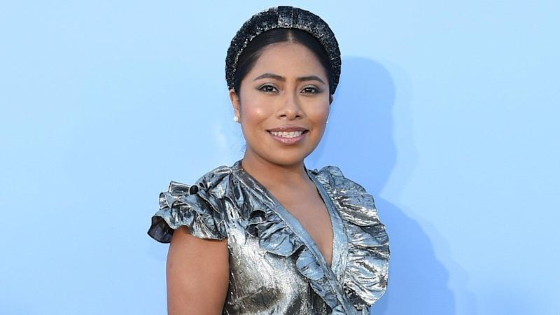 Yalitza Aparicio Shines in Metallic Look at First NYFW Show