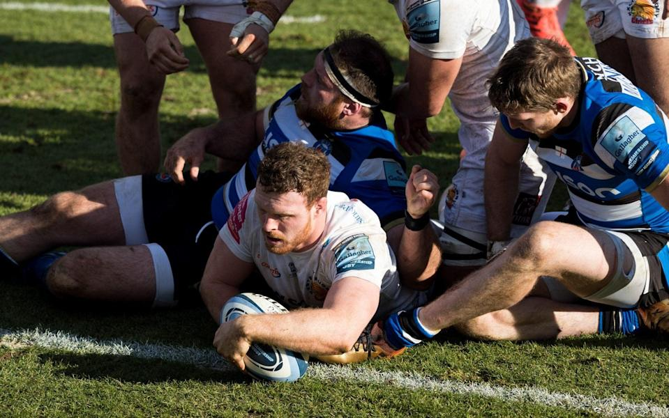 Sam Simmonds scores Exeter's second try as they brushed Bath aside at The Rec - GETTY IMAGES