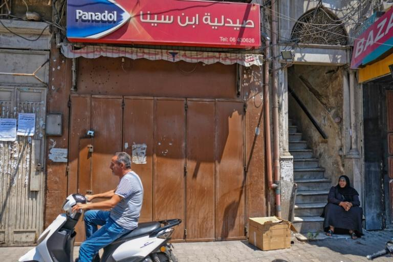 A closed pharmacy in the northern city of Tripoli on July 9, 2021