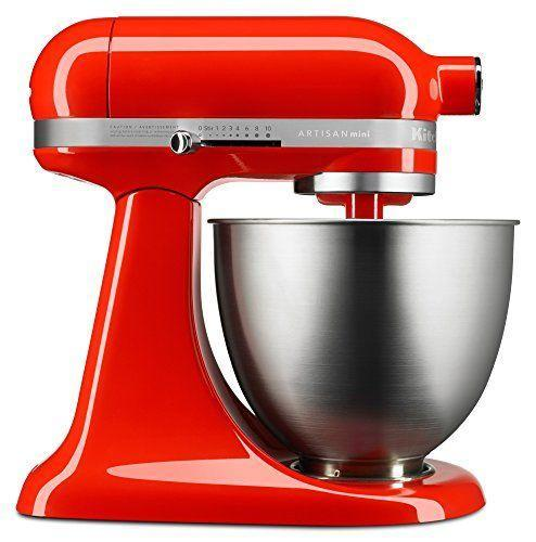 """<p><strong>KitchenAid</strong></p><p>amazon.com</p><p><strong>$299.99</strong></p><p><a href=""""https://www.amazon.com/KitchenAid-KSM3316XHT-Artisan-Stand-Mixers/dp/B01HKAUJ4E/?tag=syn-yahoo-20&ascsubtag=%5Bartid%7C10055.g.2224%5Bsrc%7Cyahoo-us"""" rel=""""nofollow noopener"""" target=""""_blank"""" data-ylk=""""slk:Shop Now"""" class=""""link rapid-noclick-resp"""">Shop Now</a></p><p>If you're looking for a smaller stand mixer, this KitchenAid is the model for you. It's <strong>25% lighter and takes up 20% less counter space </strong>than the classic but doesn't compromise on performance: From whipping egg whites into stiff peaks to plowing through heavy oatmeal raisin cookie dough, it aced our Lab's mixing tests. The Mini features a three-and-a-half-quart bowl with a beater, whisk and dough hook attachment (and can still accommodate all those fun accessories). </p>"""
