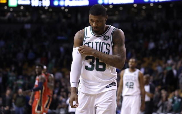 """<a class=""""link rapid-noclick-resp"""" href=""""/nba/players/5317/"""" data-ylk=""""slk:Marcus Smart"""">Marcus Smart</a>'s mother received her diagnosis in January. (AP Photo)"""